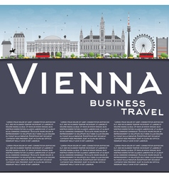 Vienna skyline with gray buildings vector