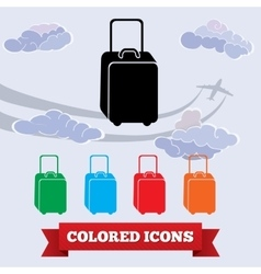 Bag icon luggage baggage symbol black red vector