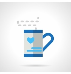 Tea cup with love heart blue flat icon vector
