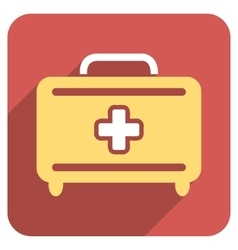 Medical baggage flat rounded square icon with long vector