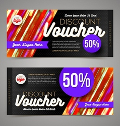 Discount voucher template multicolor bright design vector