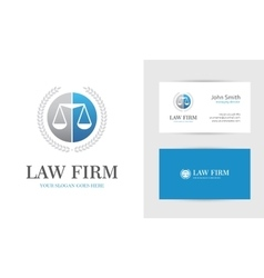 Blue law logo with scales vector image