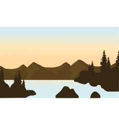 Silhouette of mounttain and river vector