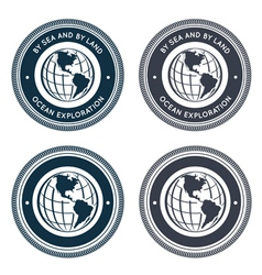 Nautical emblem with globe vector