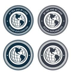 Nautical emblem with globe vector image