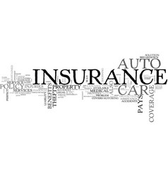 Auto insurance risk your car free text word cloud vector