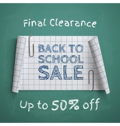 Back to school curved paper banner vector