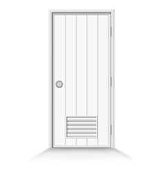 Bathroom door on isolate background vector