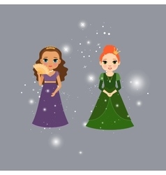 Beautiful princess characters with lights vector