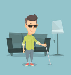 Blind man with stick vector