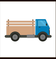 Blue truck car with wooden pick-up body vector