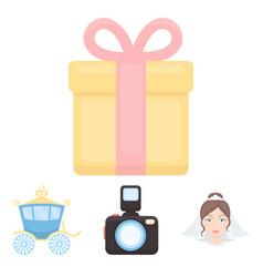 bride photographing gift wedding car wedding vector image vector image