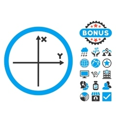 Cartesian axis flat icon with bonus vector