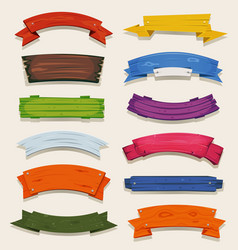 Cartoon colored wood banners and ribbons vector