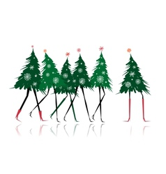 Christmas tree girls for your design vector image vector image