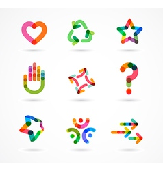Collection of abstract colorful business icons vector image vector image