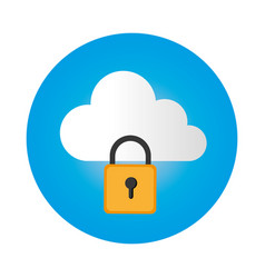 Color circular frame with secure padlock cloud vector