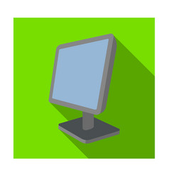 Computer monitor icon in flat style isolated on vector