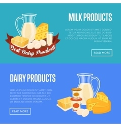 Dairy products horizontal banners set vector image vector image