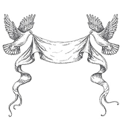 Doves sketch ribbon vector