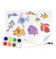 drawing fishes vector image