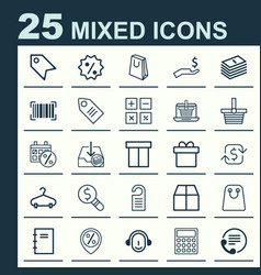 Ecommerce icons set collection of rich box vector