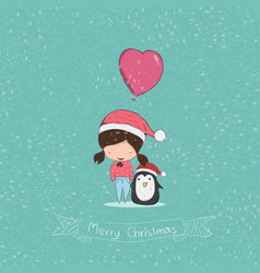Girl with heart shaped balloon christmas vector