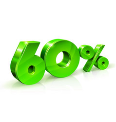 Glossy green 60 sixty percent off sale isolated vector