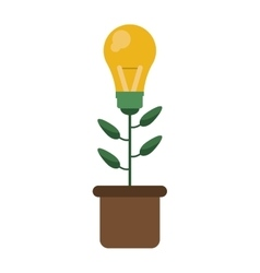 Green bulb idea plant pot design vector