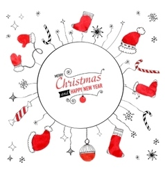 Handdrawn watercolor christmas doodle postcard vector