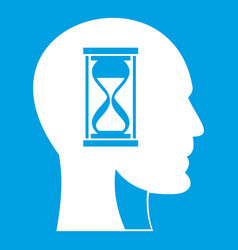 Hourglass in head icon white vector