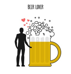 Lover beer Infatuated with foamy drink Man and vector image vector image