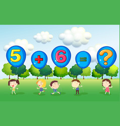 Math worksheet with kids in park vector