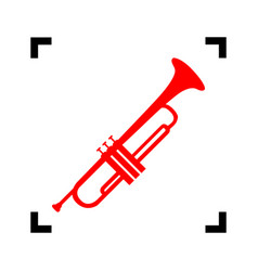 musical instrument trumpet sign red icon vector image vector image