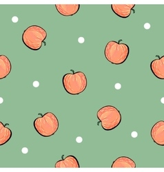 Red apple pattern on green background vector