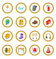 Safety work icons circle vector