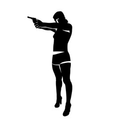 shooting girl silhouette vector image