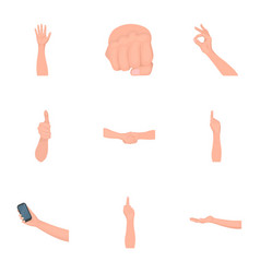 Significance of gestures cartoon icons in set vector