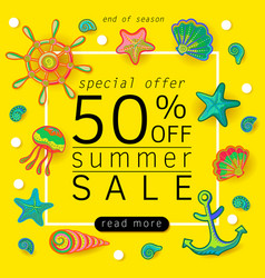 summer sale banner with objects of marine life vector image vector image