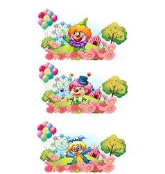 Three scenes of clown smiling in the garden vector image