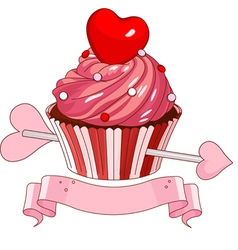 Valentine cupcake vector