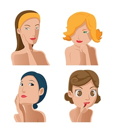 Woman Portrait Beauty Collection Set vector image vector image