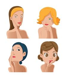 Woman portrait beauty collection set vector