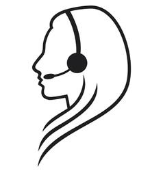Women headset symbol vector