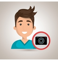 Man camera photography icon vector