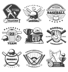 Baseball black white emblems vector