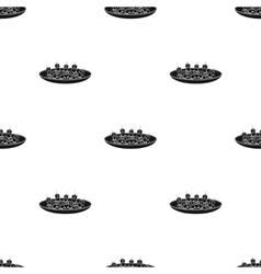 Canape on the plate icon in black style isolated vector image