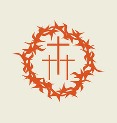 Crown of thorns and three crosses vector