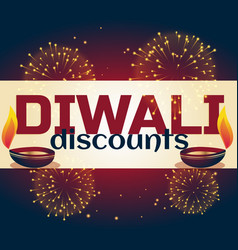 diwali discount background with two diya and vector image