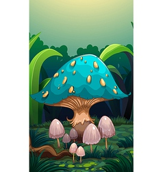 A giant mushroom surrounded with small mushrooms vector